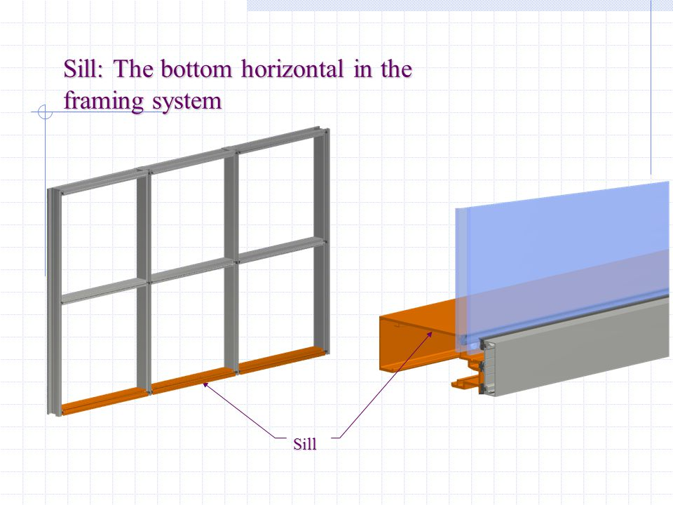 Sill: The bottom horizontal in the framing system