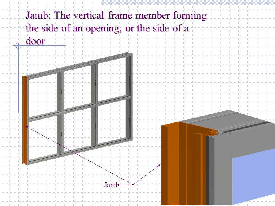Jamb: The vertical frame member forming the side of an opening, or the side of a door