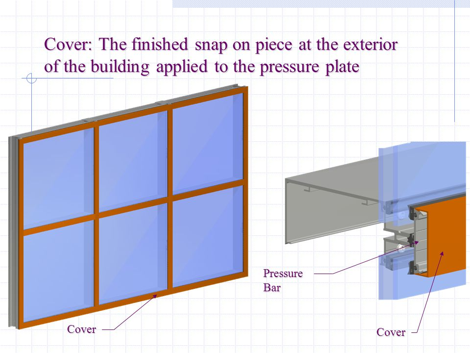 Cover: The finished snap on piece at the exterior of the building applied to the pressure plate
