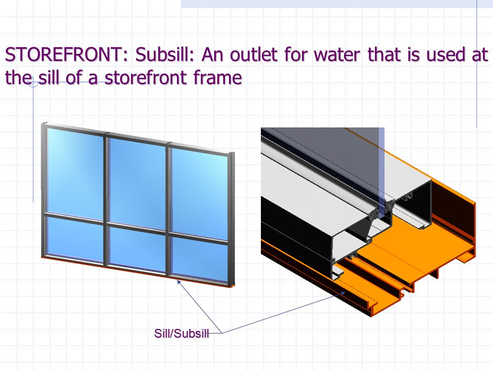 STOREFRONT: Subsill: An outlet for water that is used at the sill of a storefront frame