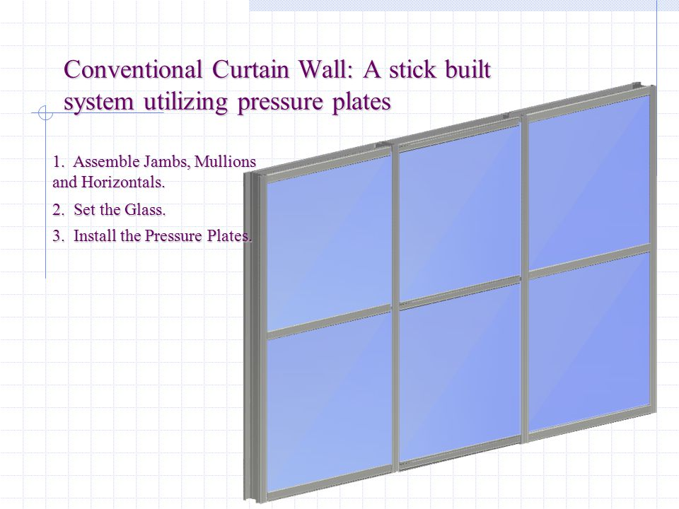 Conventional Curtain Wall: A stick built system utilizing pressure plates
