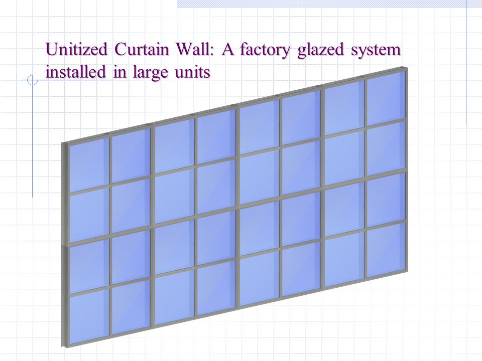Unitized Curtain Wall: A factory glazed system installed in large units