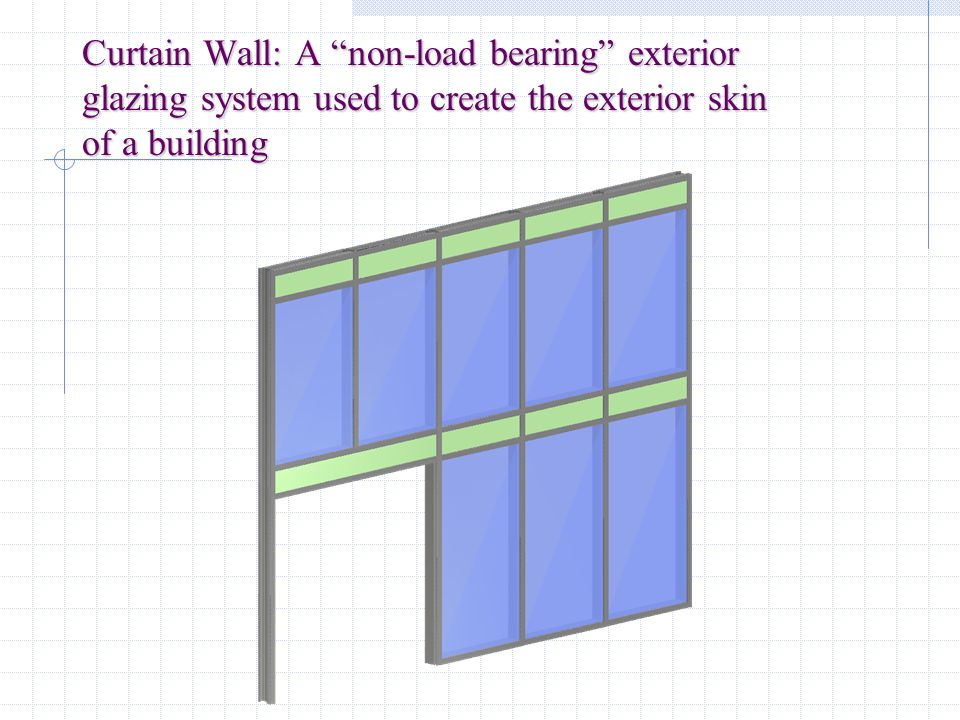 Curtain Wall: A non-load bearing exterior glazing system used to create the exterior skin of a building