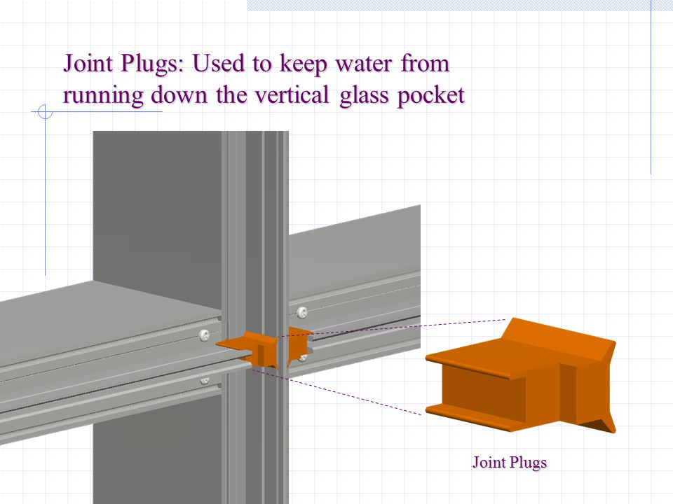 Joint Plugs: Used to keep water from running down the vertical glass pocket