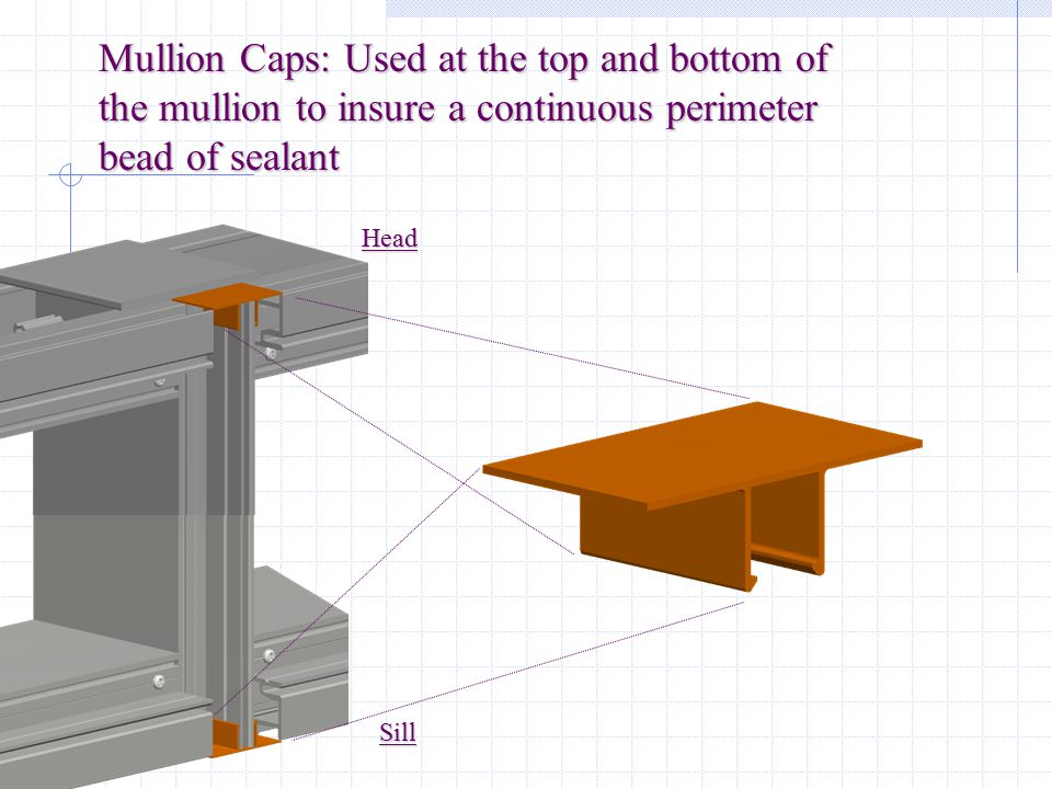 Mullion Caps: Used at the top and bottom of the mullion to insure a continuous perimeter bead of sealant