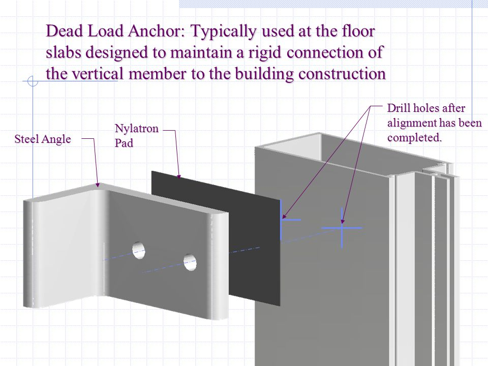 Dead Load Anchor: Typically used at the floor slabs designed to maintain a rigid connection of the vertical member to the building construction