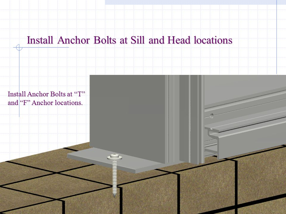 Install Anchor Bolts at Sill and Head locations