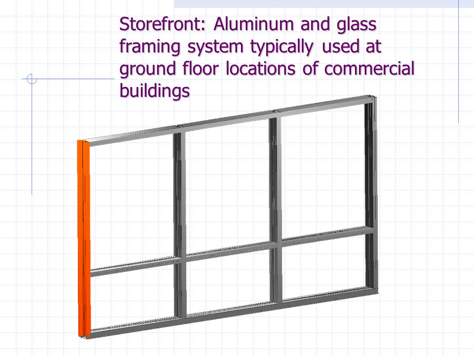 Storefront: Aluminum and glass framing system typically used at ground floor locations of commercial buildings