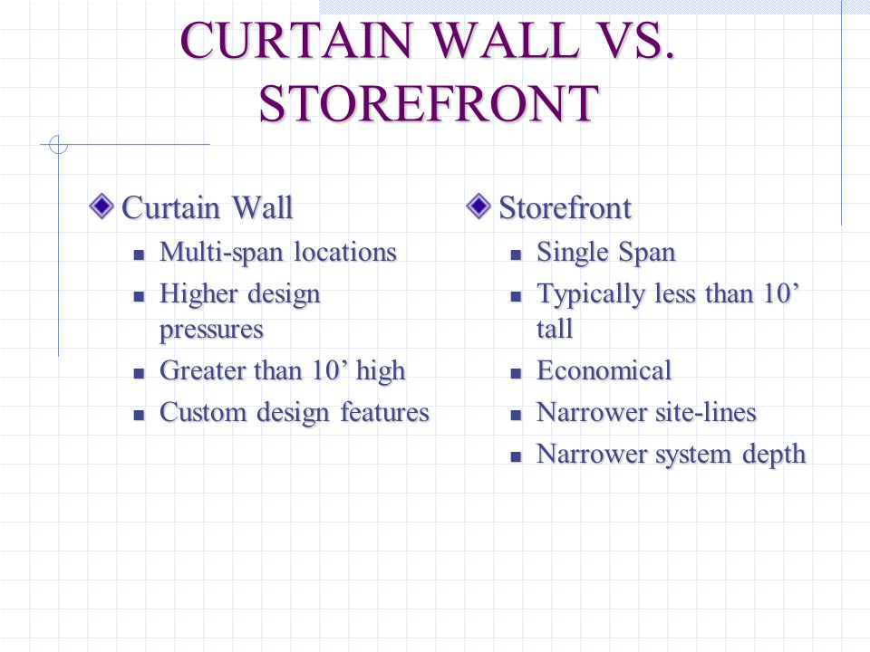 CURTAIN WALL VS. STOREFRONT