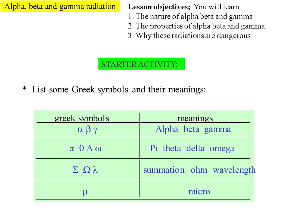 * List some Greek symbols and their meanings: