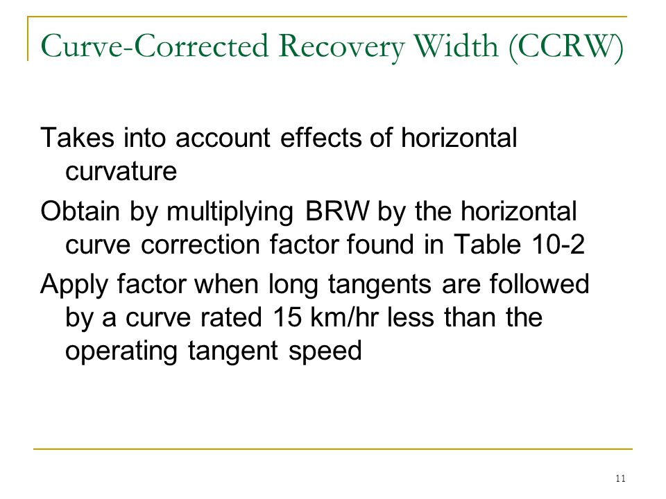Curve-Corrected Recovery Width (CCRW)