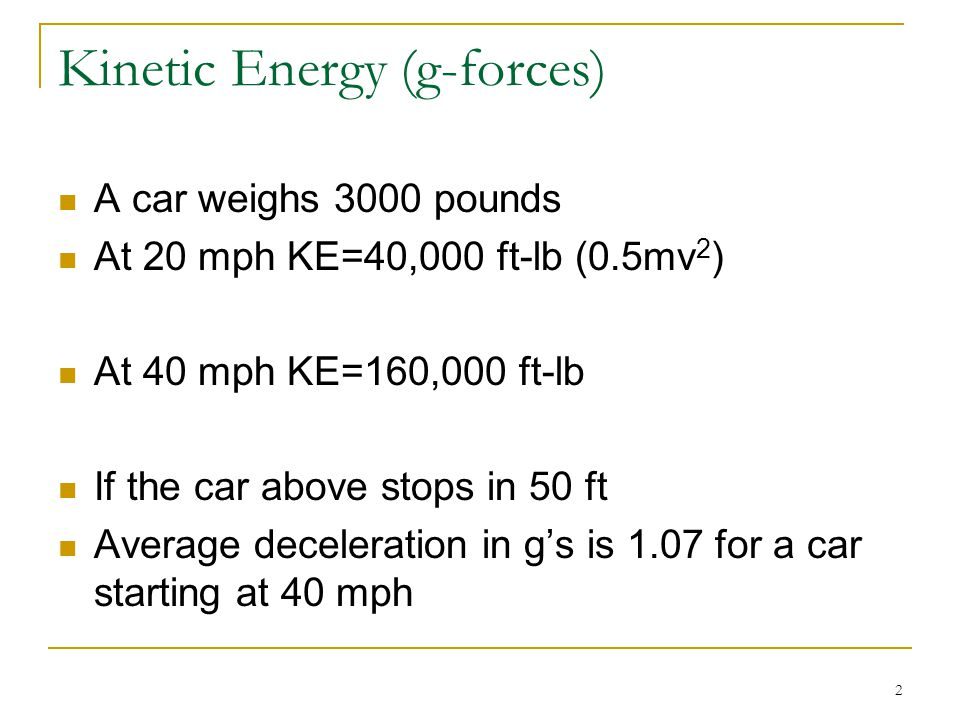 Kinetic Energy (g-forces)