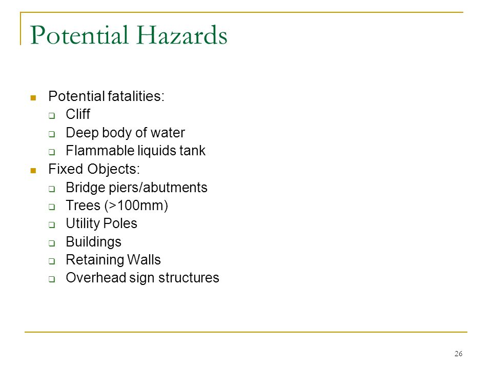 Potential Hazards Potential fatalities: Fixed Objects: Cliff