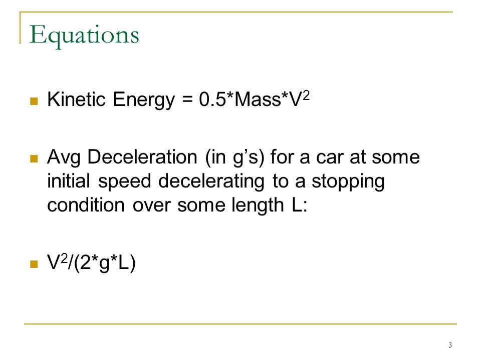 Equations Kinetic Energy = 0.5*Mass*V2