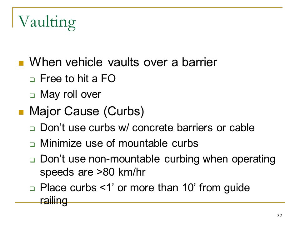 Vaulting When vehicle vaults over a barrier Major Cause (Curbs)