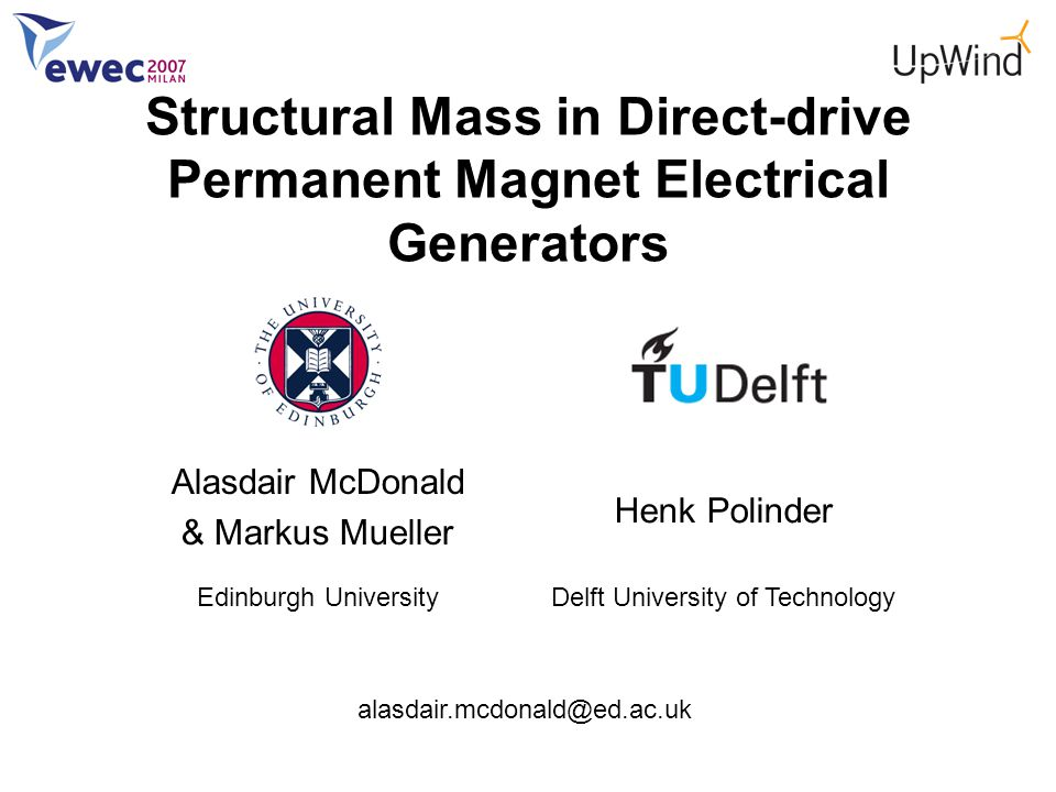 Alasdair McDonald & Markus Mueller Edinburgh University