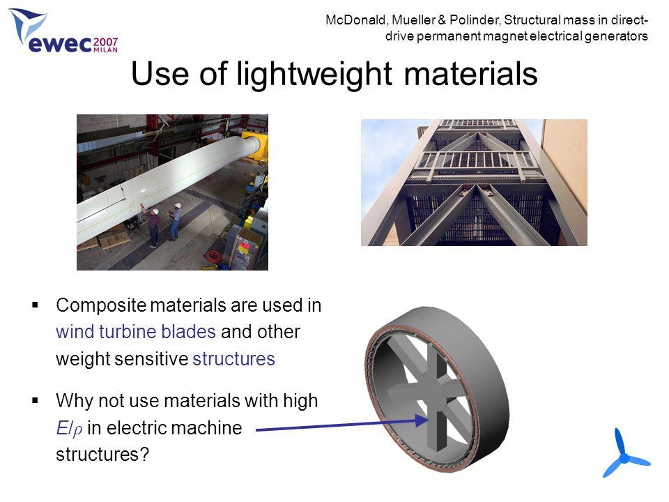 Use of lightweight materials