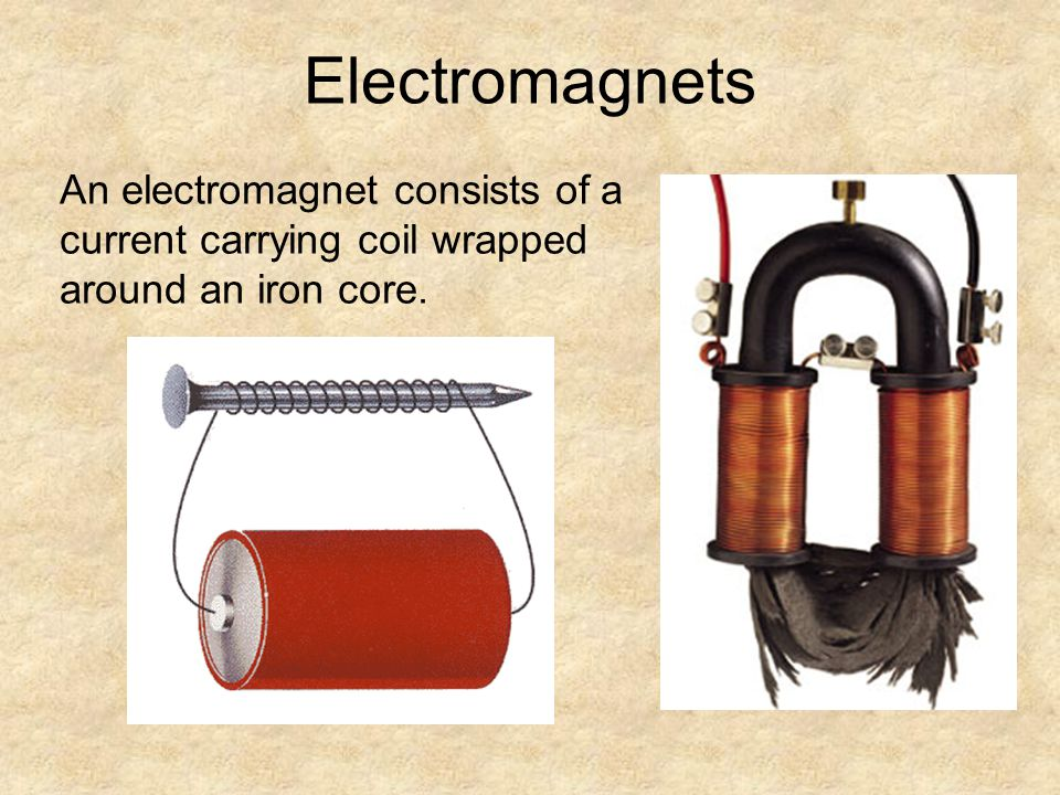 Electromagnets An electromagnet consists of a current carrying coil wrapped around an iron core. 11