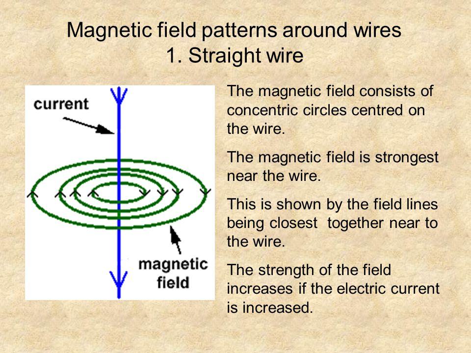 Magnetic field patterns around wires 1. Straight wire