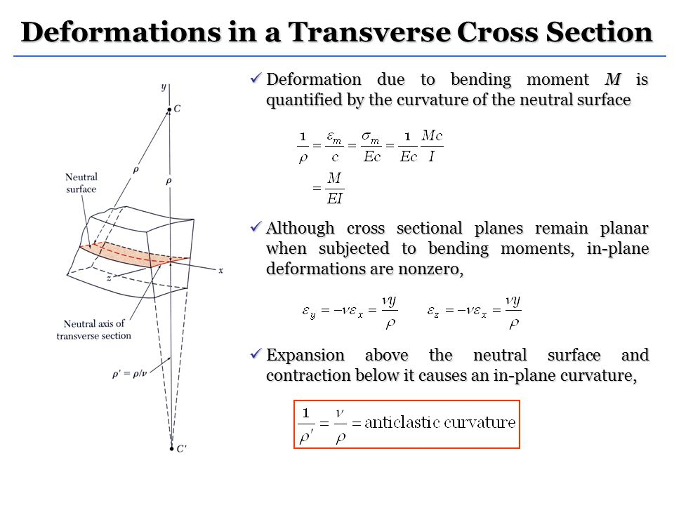 Deformations in a Transverse Cross Section