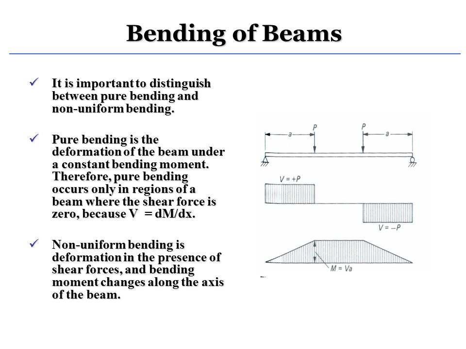 Bending of Beams It is important to distinguish between pure bending and non-uniform bending.