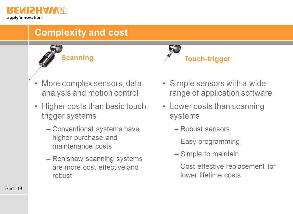 Complexity and cost Scanning. Touch-trigger. More complex sensors, data analysis and motion control.