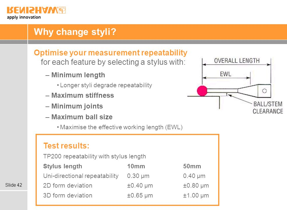 Why change styli Optimise your measurement repeatability for each feature by selecting a stylus with: