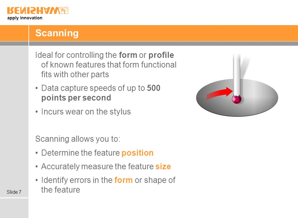 Scanning Ideal for controlling the form or profile of known features that form functional fits with other parts.