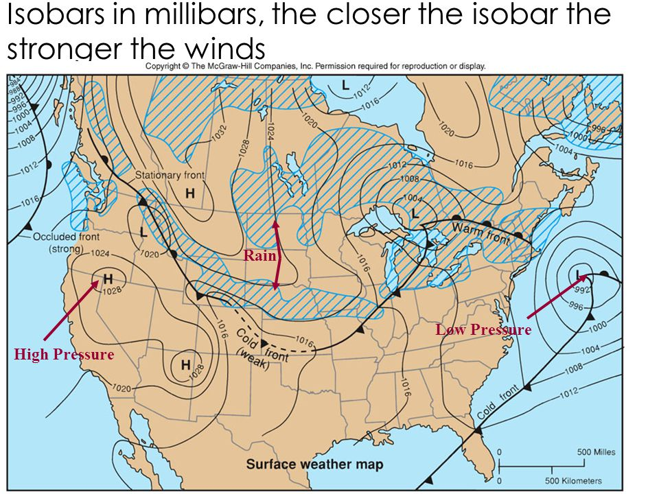 Isobars in millibars, the closer the isobar the stronger the winds