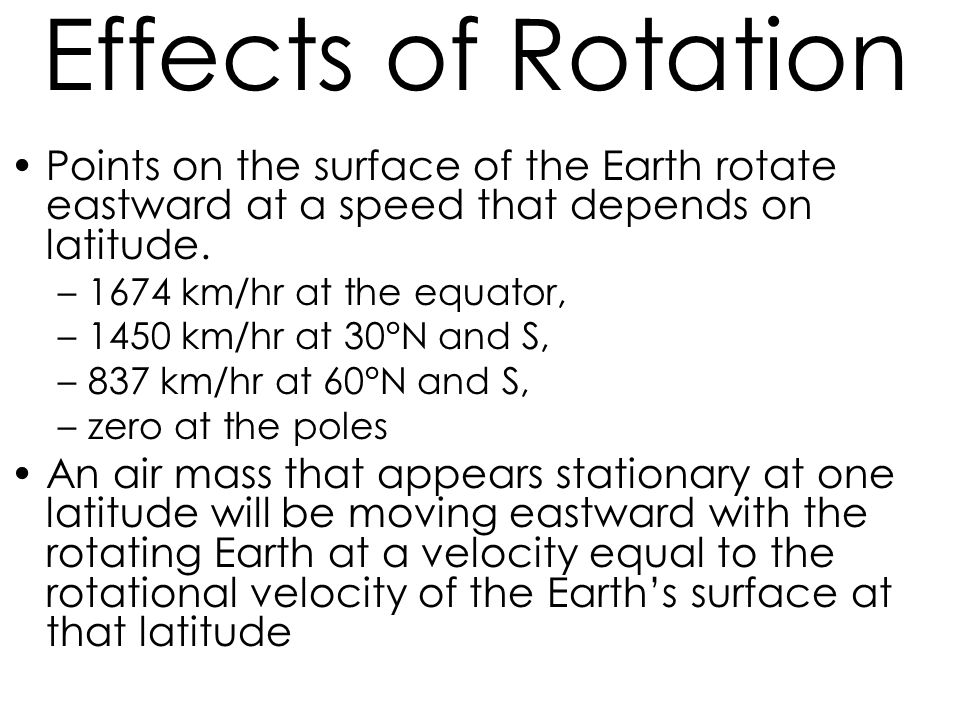 Effects of Rotation Points on the surface of the Earth rotate eastward at a speed that depends on latitude.
