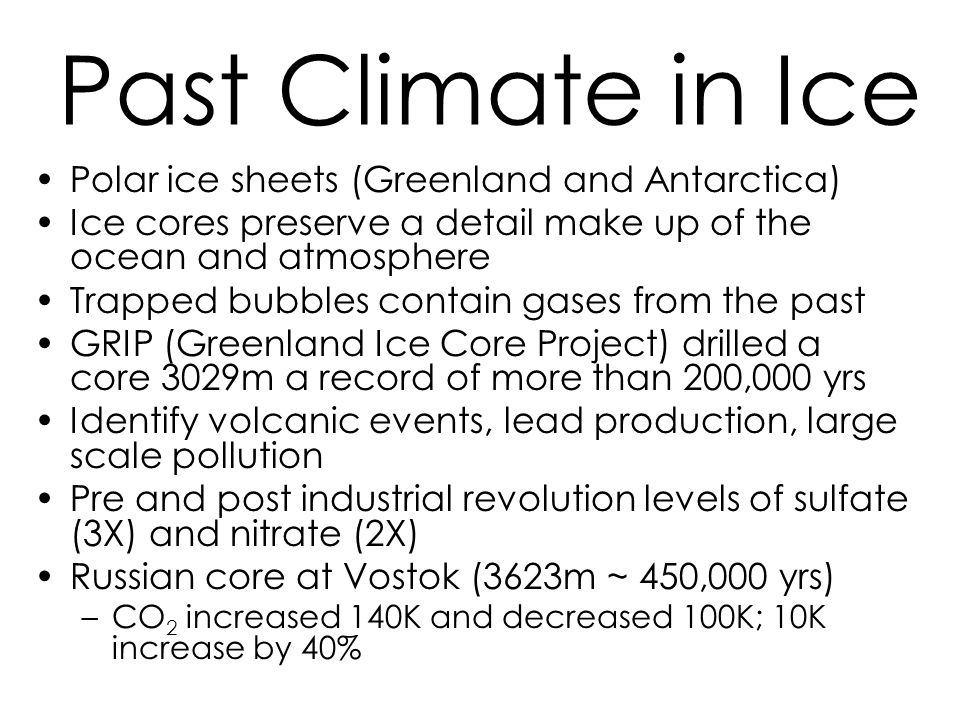 Past Climate in Ice Polar ice sheets (Greenland and Antarctica)