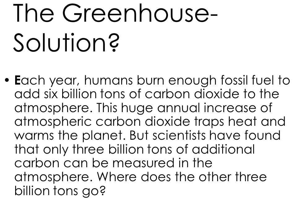 The Greenhouse- Solution