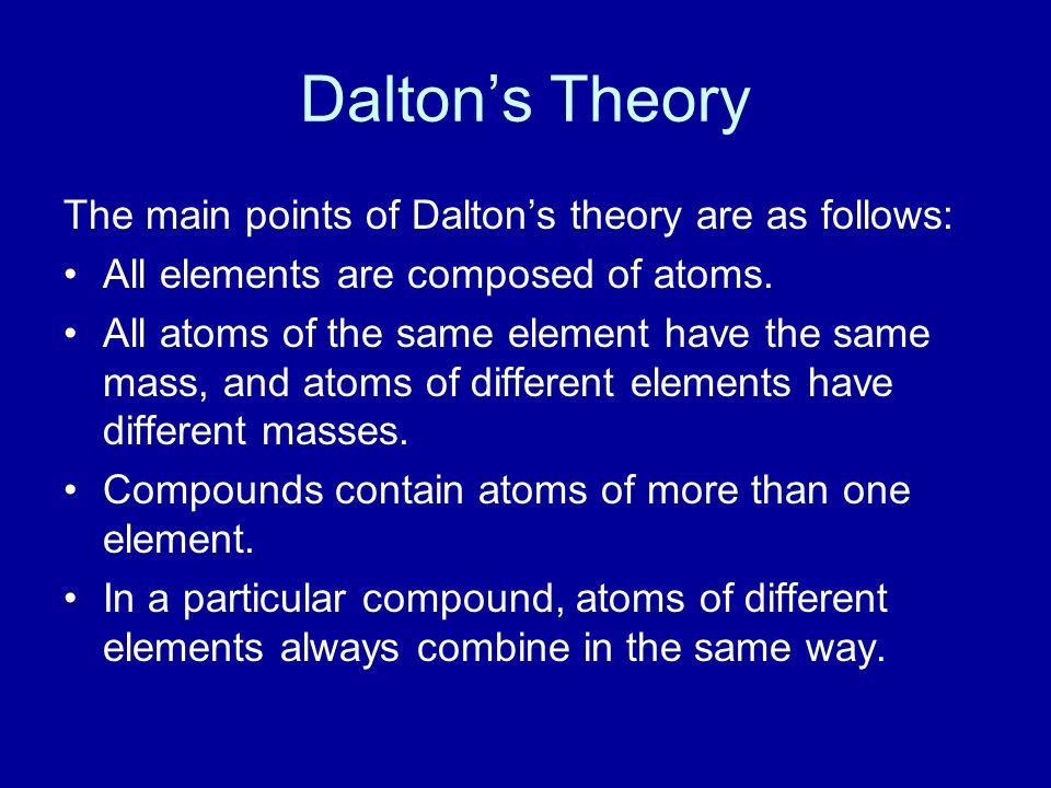 Dalton's Theory The main points of Dalton's theory are as follows: