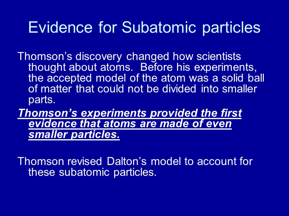 Evidence for Subatomic particles