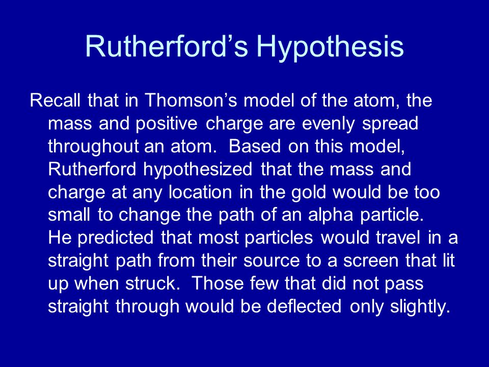 Rutherford's Hypothesis