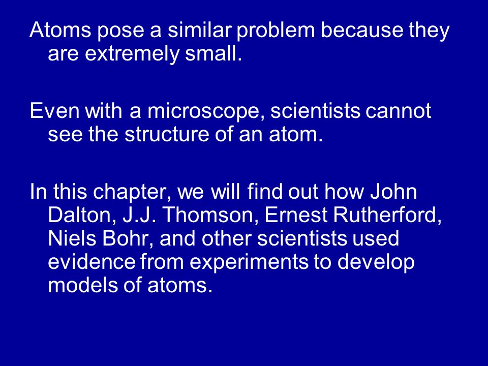 Atoms pose a similar problem because they are extremely small.