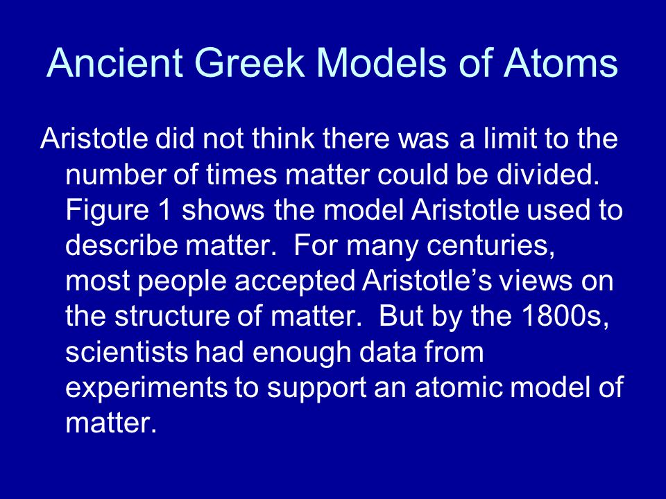 Ancient Greek Models of Atoms