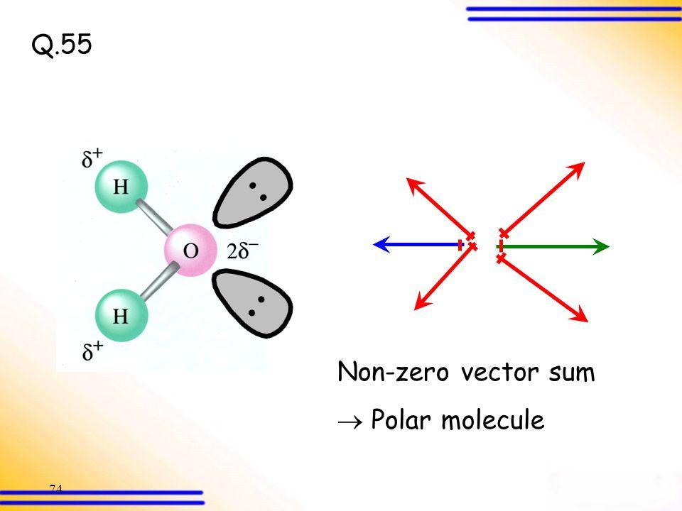 Q.55 Non-zero vector sum  Polar molecule
