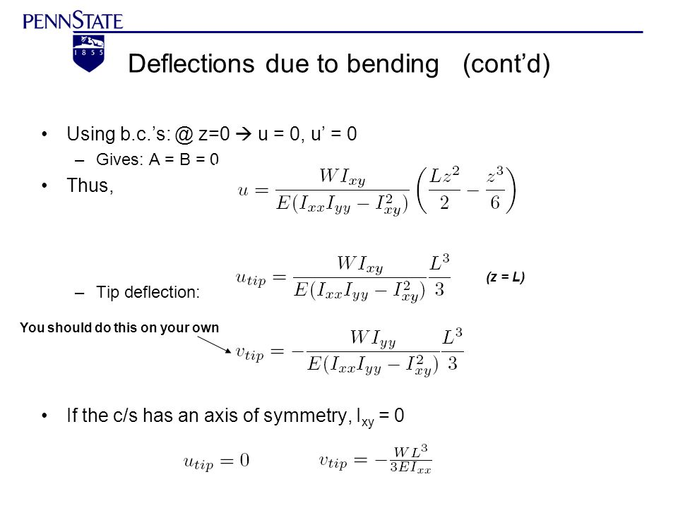 Deflections due to bending (cont'd)