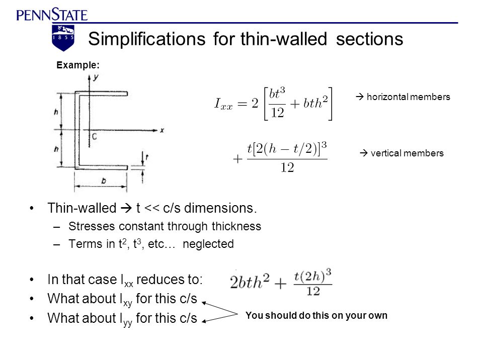 Simplifications for thin-walled sections