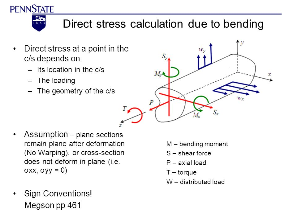 Direct stress calculation due to bending