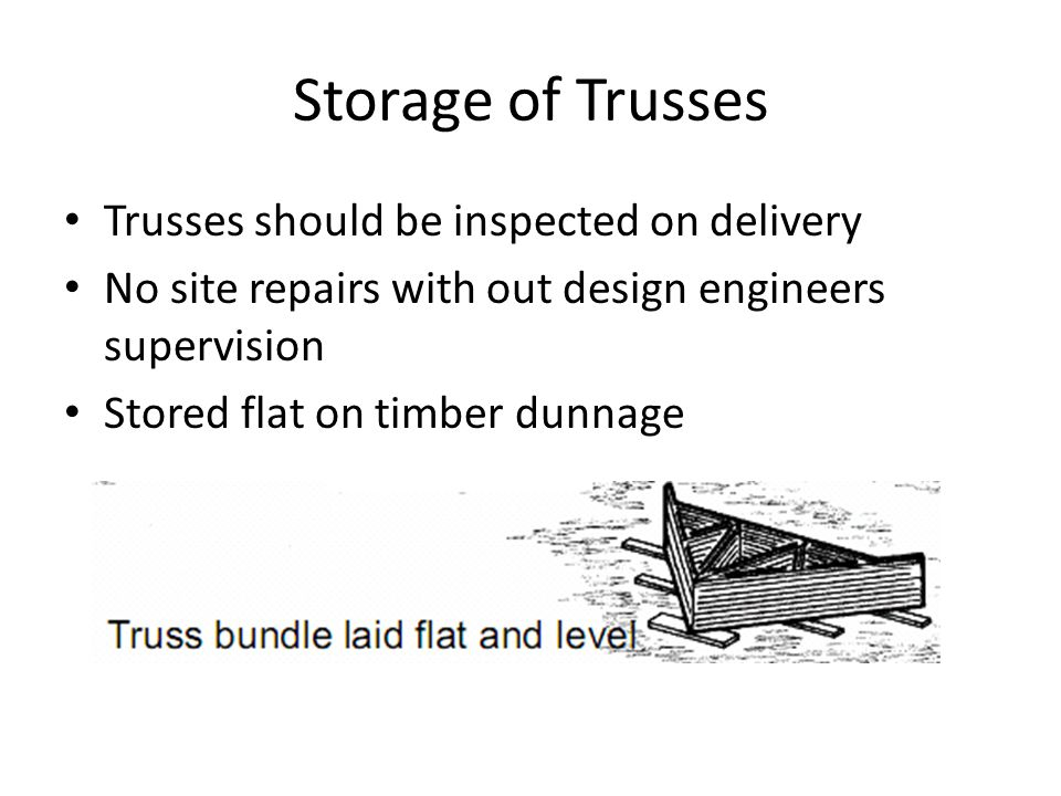 Storage of Trusses Trusses should be inspected on delivery