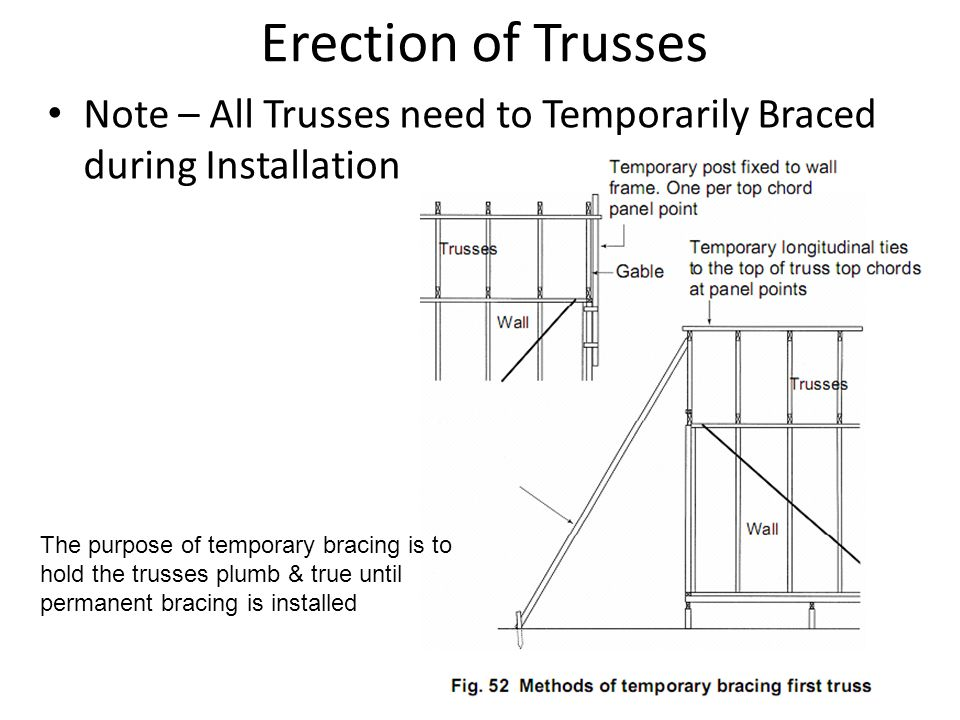 Erection of Trusses Note – All Trusses need to Temporarily Braced during Installation.