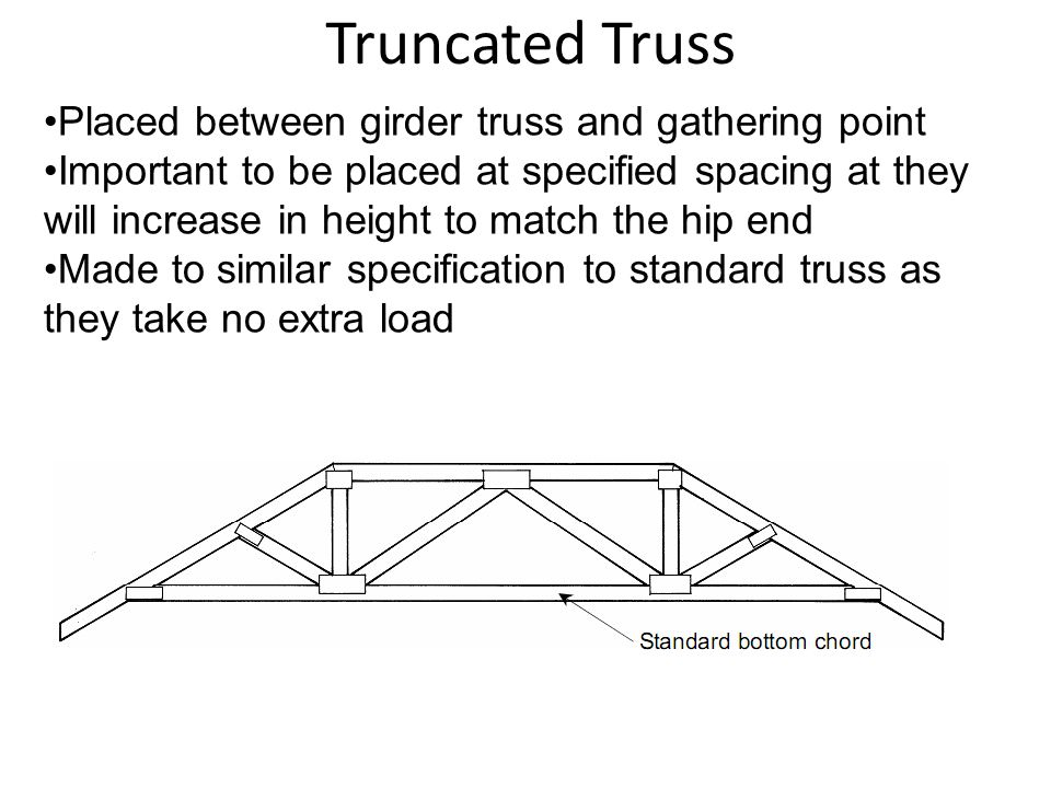 Truncated Truss Placed between girder truss and gathering point