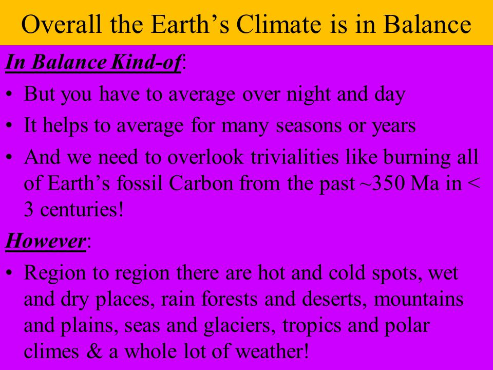 Overall the Earth's Climate is in Balance