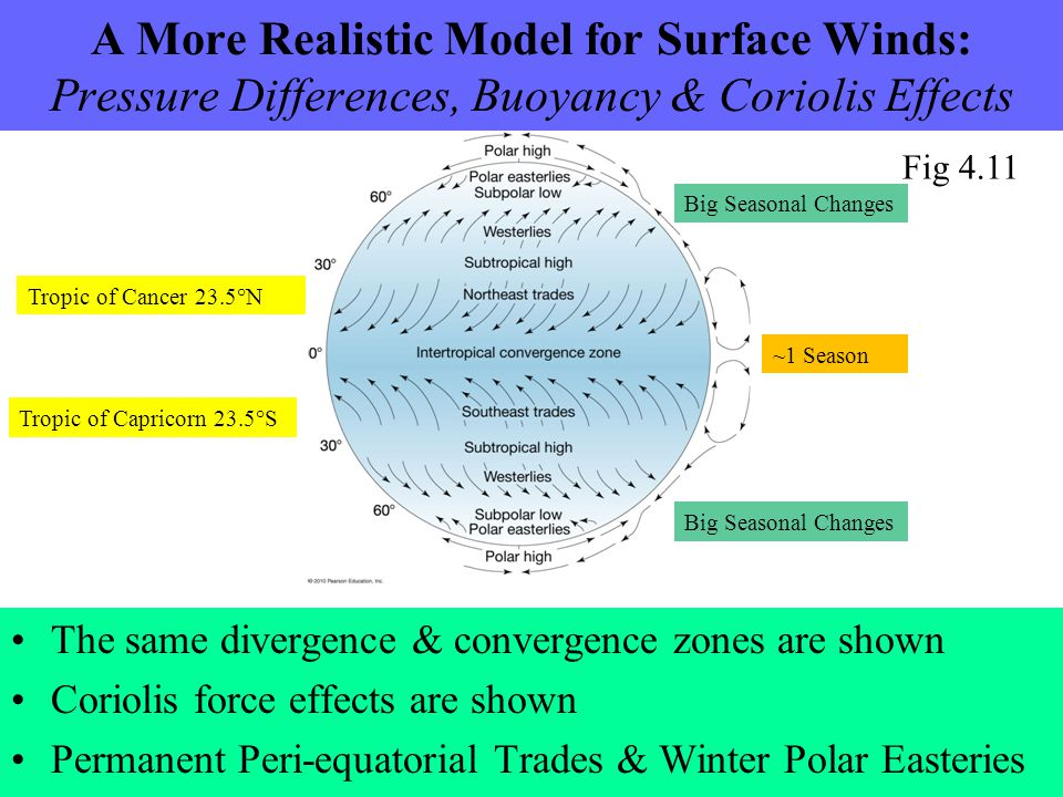A More Realistic Model for Surface Winds: Pressure Differences, Buoyancy & Coriolis Effects