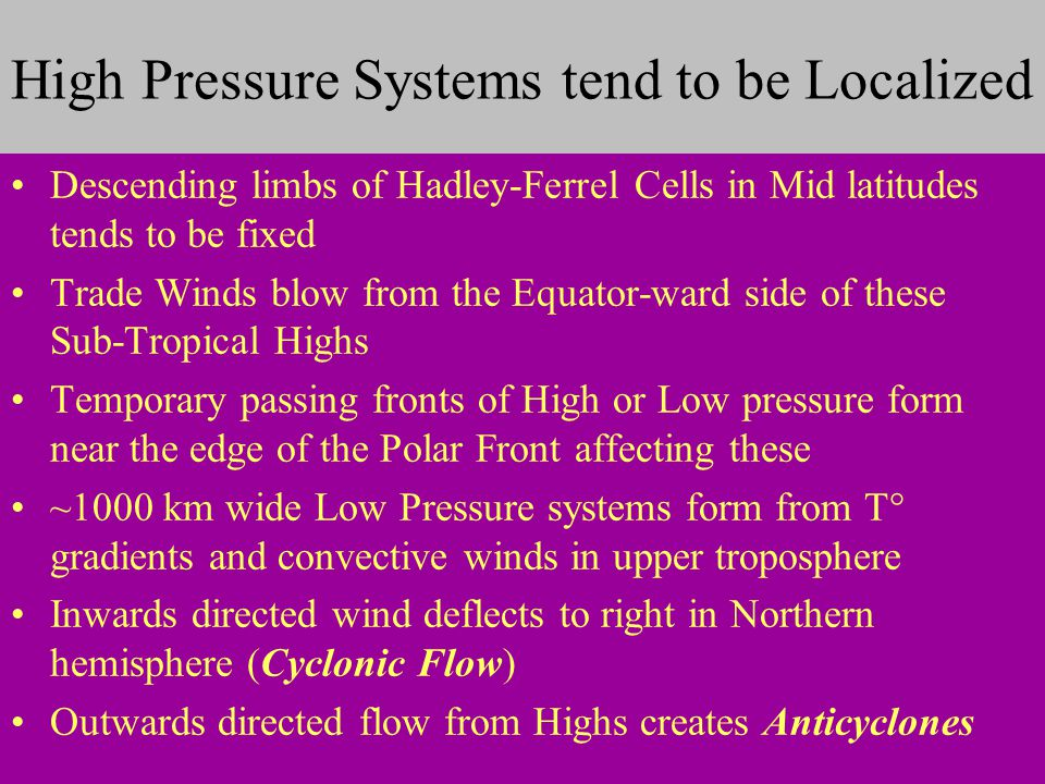 High Pressure Systems tend to be Localized