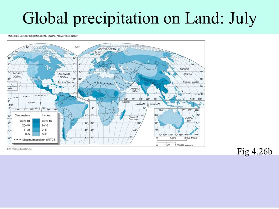 Global precipitation on Land: July
