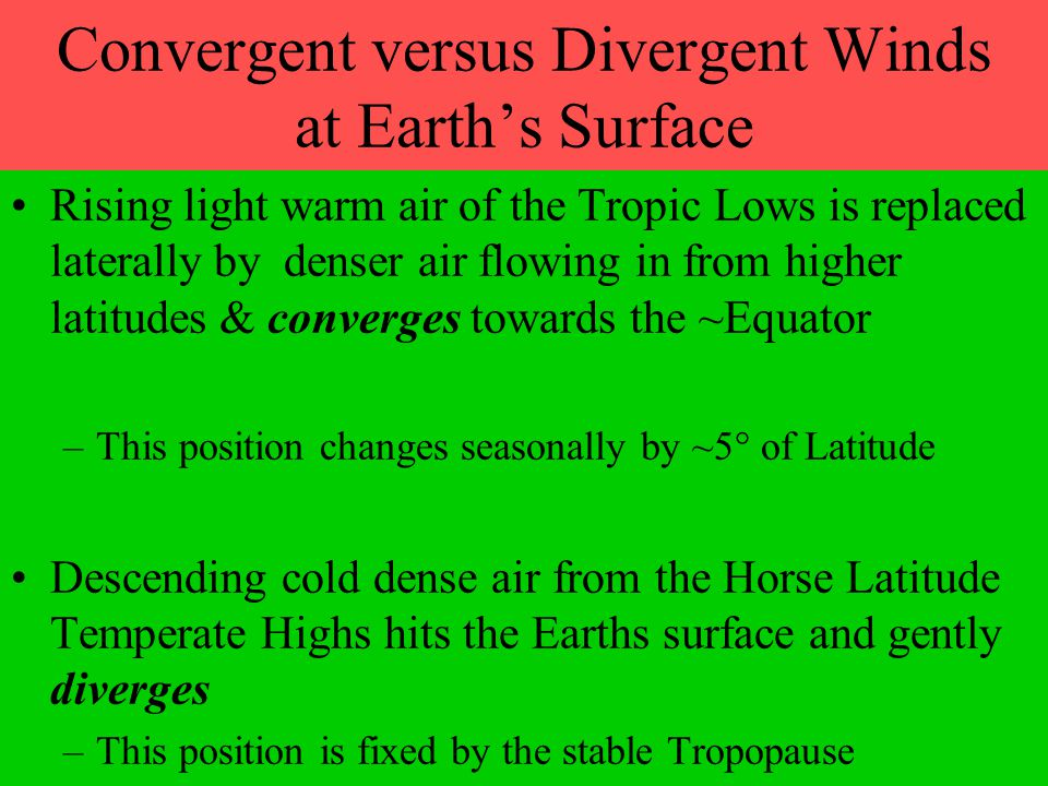 Convergent versus Divergent Winds at Earth's Surface