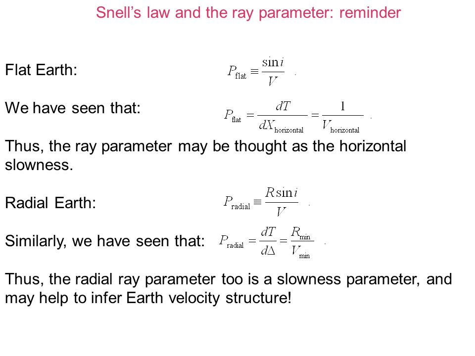 Snell's law and the ray parameter: reminder